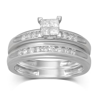 UNENDING LOVE 3/8 CT TW PRN INV QUAD HEAD BRIDAL RING (IJ I2-I3)