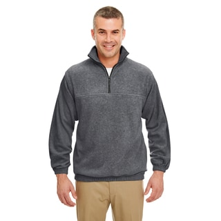 Men's Iceberg Charcoal Fleece Big and Tall Quarter-zip Pullover Sweater