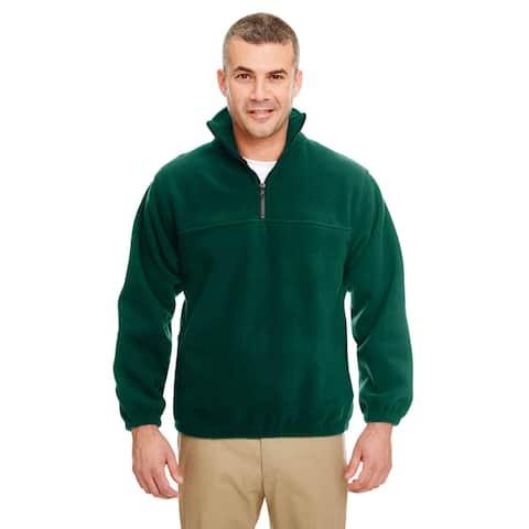 Iceberg Men's Big and Tall Forest Green Fleece 1/4-zip Pullover Sweater