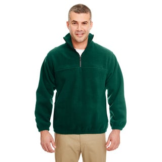 Iceberg Men's Big and Tall Forest Green Fleece 1/4-zip Pullover Sweater