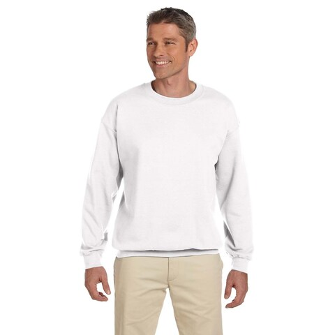 Men's White 50/50 Fleece Big and Tall Crewneck Sweater