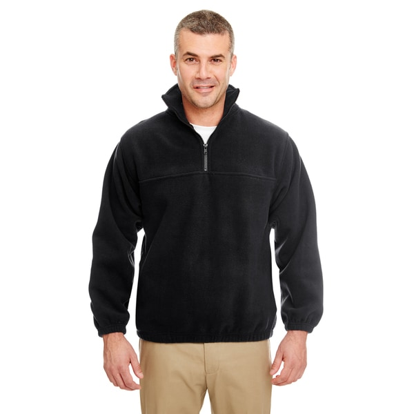 Iceberg Men's Big and Tall Black Fleece 1/4-zip Pullover Sweater ...