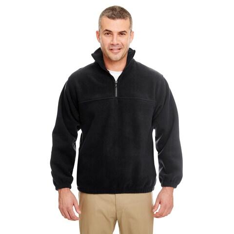 Iceberg Men's Big and Tall Black Fleece 1/4-zip Pullover Sweater