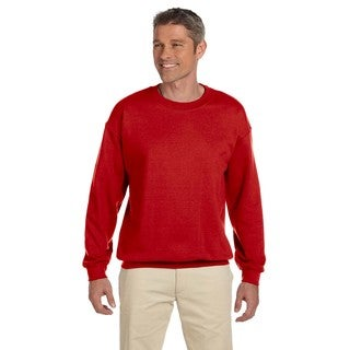 Men's Red Cotton/Polyester Fleece Big and Tall Crewneck Sweater