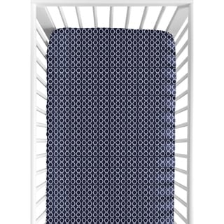 Sweet Jojo Designs Hexagon Print Fitted Crib Sheet for Orange and Navy Blue Arrow Collection