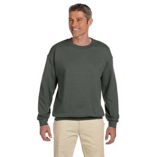 Men's Big and Tall Military Green 50/50 Fleece Crew-Neck Sweater