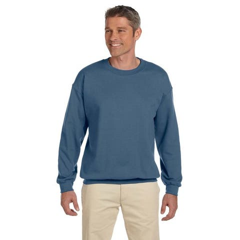 Men's Big and Tall Blue Cotton/Polyester Crewneck Sweatshirt
