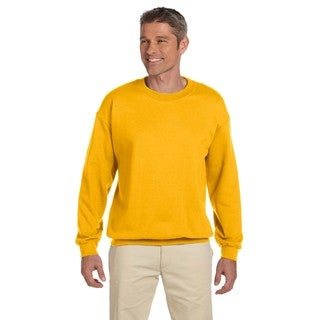 Men's Big and Tall Gold Cotton-blended Fleece Crew-neck Sweater