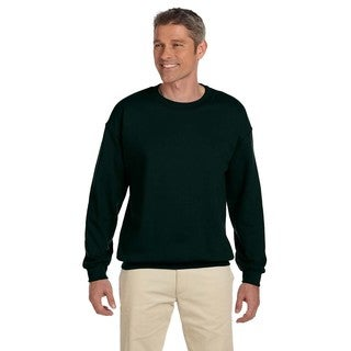Men's Big and Tall Green Cotton-blended Fleece Crew-neck Sweater