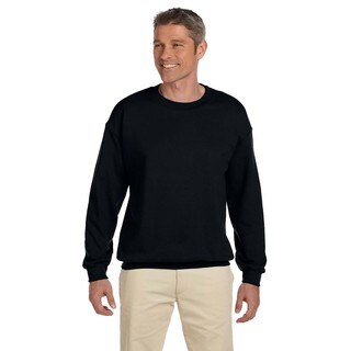 Men's Big and Tall Black Cotton-blended Crewneck Sweater