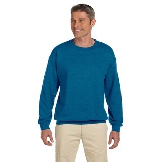 Men's Big and Tall Blue Cotton-blended Fleece Crewneck Sweater
