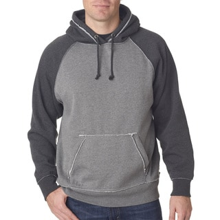 Men's Smoke Heather/Charcoal Heather Cotton/Polyester Big and Tall Vintage Pullover Hooded Sweater
