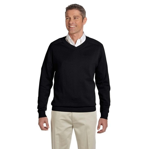 Men's Big and Tall Black V-neck Sweater. Opens flyout.