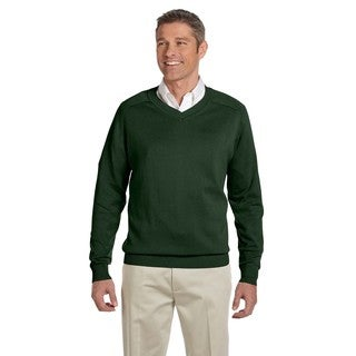 Men's Forest Green Cotton Big and Tall V-neck Sweater