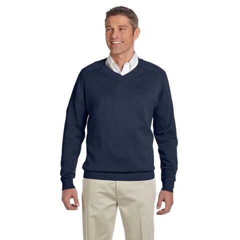 Men's Big and Tall Navy Blue Cotton V-neck Sweater