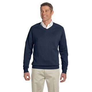 Men's Big and Tall Navy Blue Cotton V-neck Sweater (3 options available)