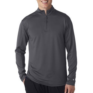 Men's Big and Tall Grey Polyester/Spandex Zip-top Pullover Jacket