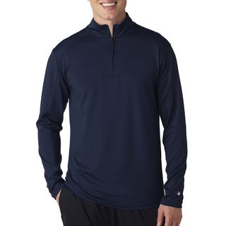 Men's Big and Tall Navy Blue Polyester/Spandex Zip-collar Lightweight Pulloever Jacket