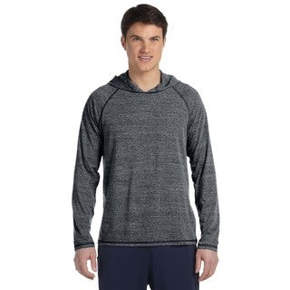 Men's Performance Grey Heather Triblend Long-Sleeve Hooded Big and Tall Pullover Sweater