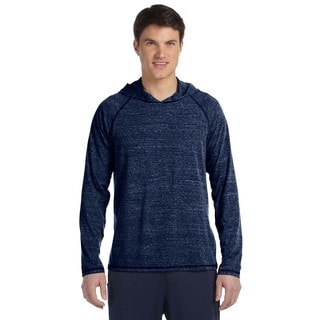 Men's Navy Heather Performance Triblend Big and Tall Long Sleeve Hooded Pullover Sweater