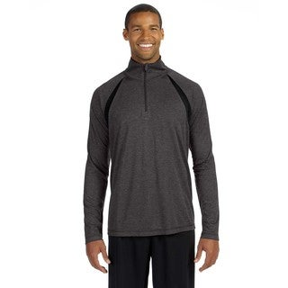 Men's Dark Grey Heather/Black Polyester Big and Tall Quarter-zip Lightweight Pullover Sweater With Insets