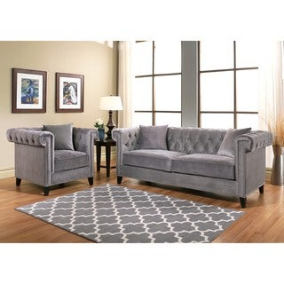 Abbyson Victoria Grey Velvet Sofa and Armchair Set