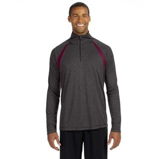 Men's Dark Grey Heather Big and Tall Sport Quarter-Zip Lightweight Pullover Sweater With Insets