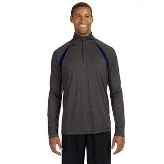 Men's Dark Grey Heather/Sport Nv Quarter-zip Big and Tall Lightweight Pullover Sweater with Insets