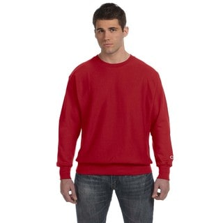 Men's Big and Tall Scarlet Red Cotton-blended Crew-neck Sweater
