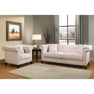 Abbyson Victoria Ivory Velvet Sofa and Armchair Set