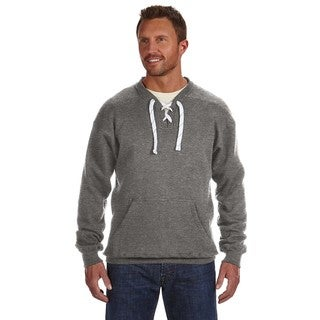 Men's Charcoal Heather Cotton/Polyester Big and Tall Lace-up Crewneck Sports Sweater