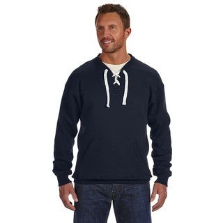 Men's Navy Cotton/Polyester Big and Tall Lacing Crewneck Sweater