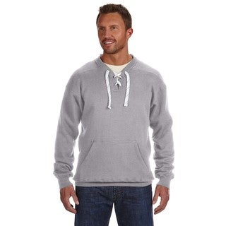 Men's Oxford Big and Tall Lace-up Crewneck Sport Sweater