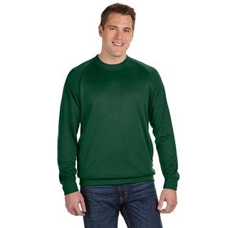 Men's Big and Tall Dark Green Cotton-blended Fleece Crewneck Sweater
