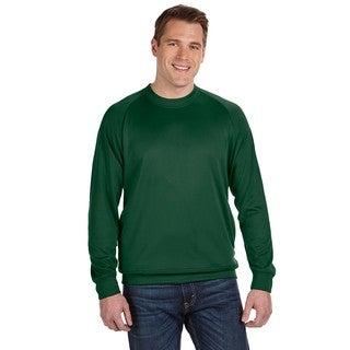 Men's Big and Tall Dark Green Cotton-blended Fleece Crewneck Sweater