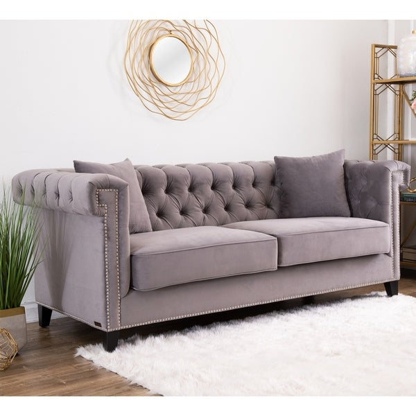 Sofas And Couches On Sale: Shop Abbyson Victoria Grey Velvet Tufted Sofa