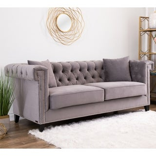 Abbyson Victoria Grey Velvet Tufted Sofa