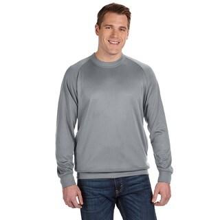 Tech Men's Grey Polyester Fleece Crew-Neck Sweater