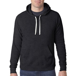 Men's Black Triblend Fleece Big and Tall Pullover Hooded Sweater