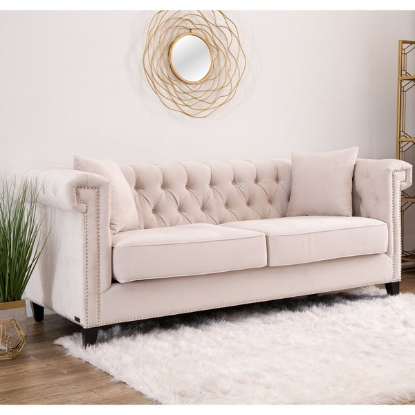 Shop Abbyson Victoria Ivory Velvet Tufted Sofa Free Shipping Today Overstock