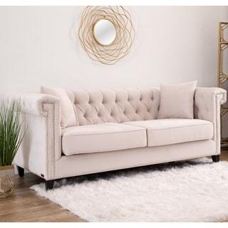 Abbyson Victoria Ivory Velvet Tufted Sofa