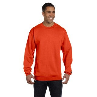 Men's Orange Cotton/Polyester Big and Tall Crewneck Sweater