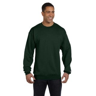 Men's Dark Green Cotton/Polyester Big and Tall Crew-neck Sweater