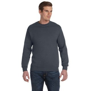 Men's Big and Tall Charcoal Cotton-blended Crewneck Sweater