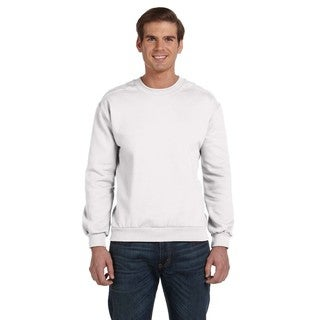 Men's White Cotton/Polyester Fleece Big and Tall Crewneck Sweater