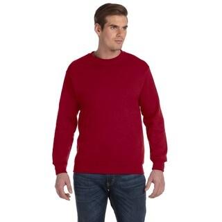 Men's Cardinal Red 50/50 Fleece Big and Tall Crew-neck Sweater