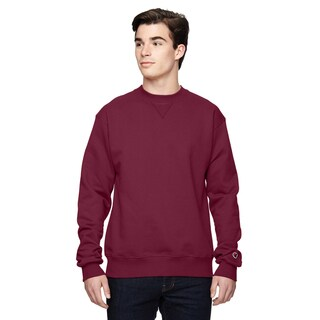 Men's Big and Tall Maroon Cotton-blended Crewneck Sweater