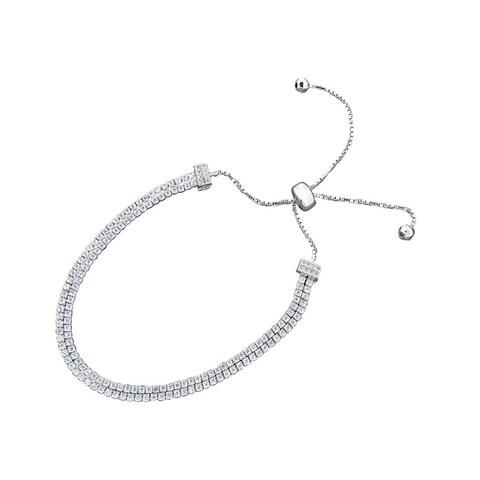 Women's 2-row Rhodium-plated White Metal Sliding Bolo Bracelet With Swarovski Elements