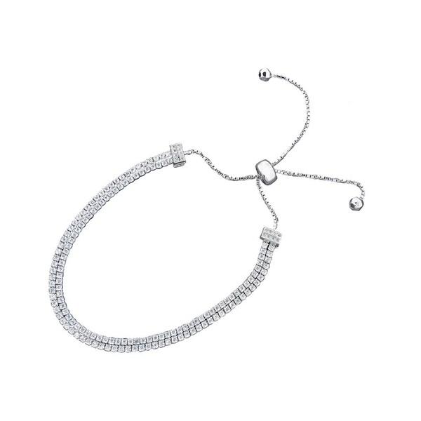 b4873d482f1d Shop Women s 2-row Rhodium-plated White Metal Sliding Bolo Bracelet ...