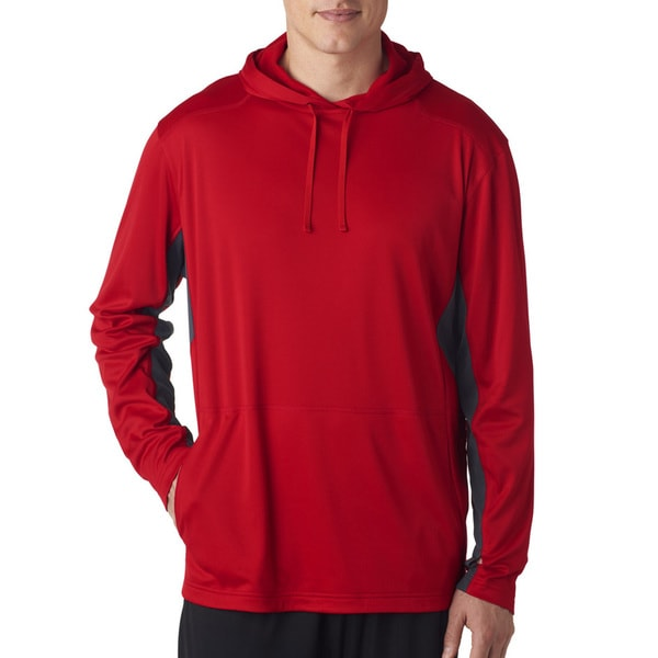 Mens Big and Tall Red and Charcoal Cool and Dry Sport Hooded Pullover Sweater